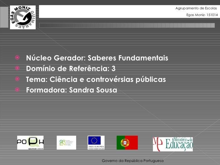 <ul><li>Núcleo Gerador: Saberes Fundamentais </li></ul><ul><li>Domínio de Referência: 3 </li></ul><ul><li>Tema: Ciência e ...