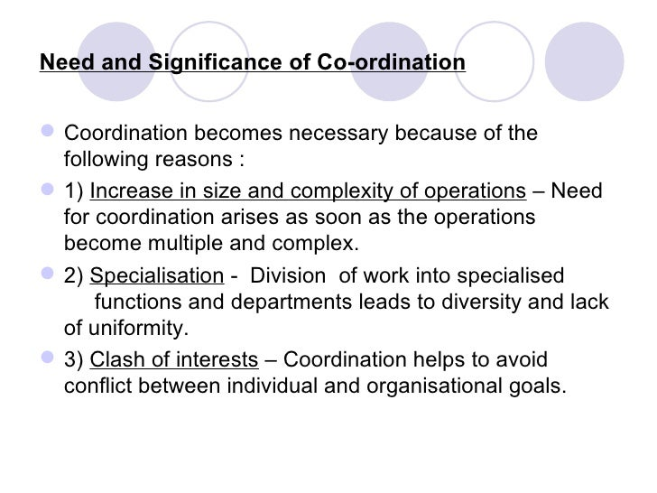 significance of coordination