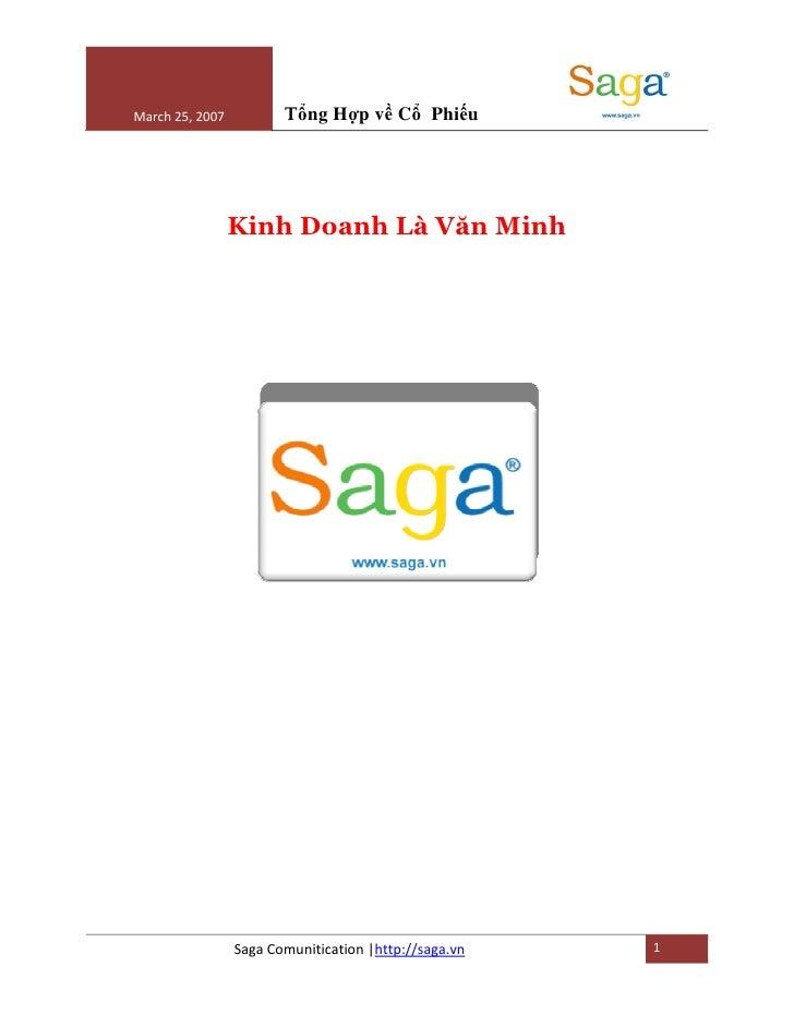 March 25, 2007          T ng H p v C Phi u                      Kinh Doanh Là Văn Minh                      Saga Comunitic...