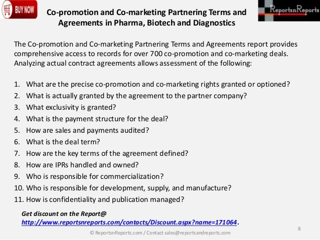 Co Promotion And Co Marketing Partnering Terms And Agreements In Phar