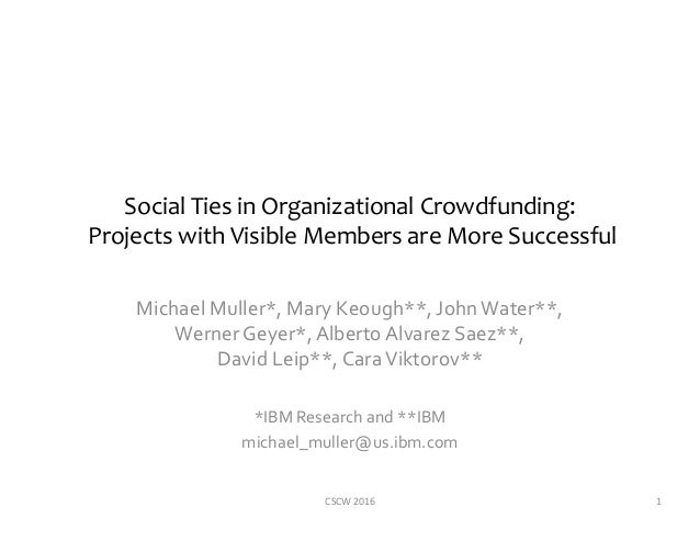 Social Ties in Organizational Crowdfunding: Projects with Visible Members are More Successful Michael Muller*, Mary Keough...