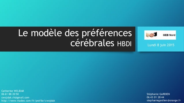 Le modèle des préférences cérébrales HBDI Catherine WOJDAK 06 61 88 20 50 cwojdak.rh@gmail.com http://www.viadeo.com/fr/pr...