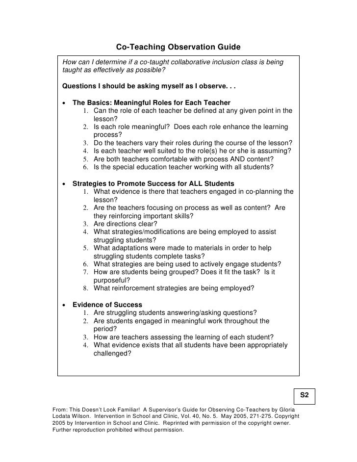 Co-Teaching Observation Guide   How can I determine if a co-taught collaborative inclusion class is being   taught as effe...