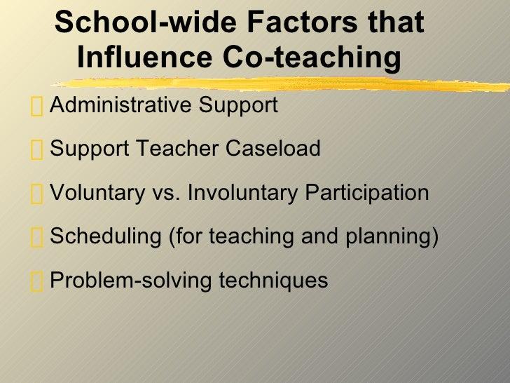 School-wide Factors that Influence Co-teaching <ul><li>Administrative Support </li></ul><ul><li>Support Teacher Caseload <...