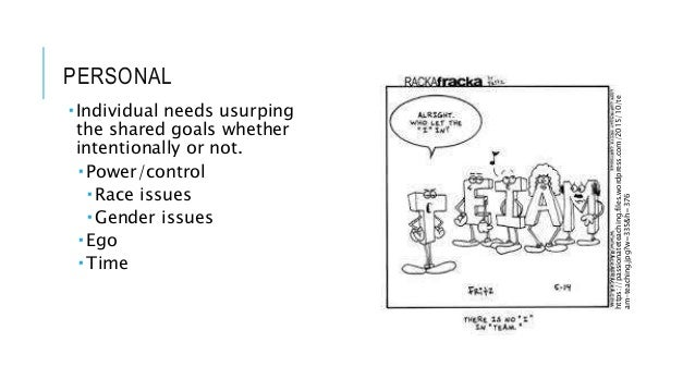 PERSONAL  Individual needs usurping the shared goals whether intentionally or not.  Power/control  Race issues  Gender...