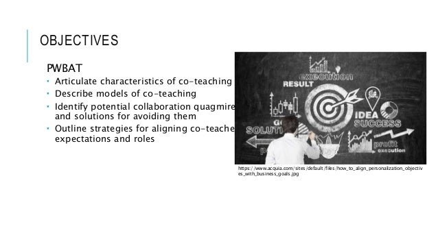 OBJECTIVES PWBAT  Articulate characteristics of co-teaching  Describe models of co-teaching  Identify potential collabo...