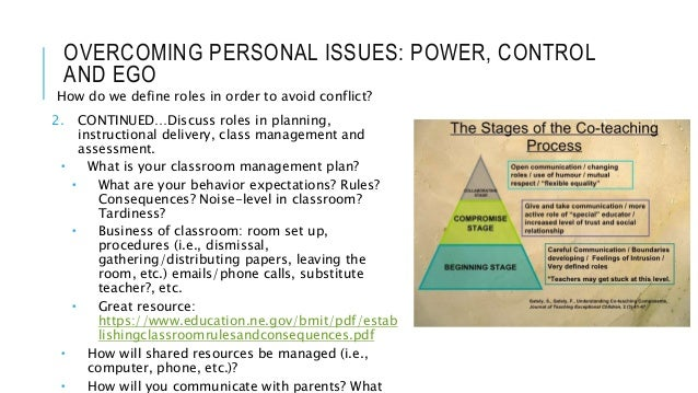 OVERCOMING PERSONAL ISSUES: POWER, CONTROL AND EGO How do we define roles in order to avoid conflict? 2. CONTINUED…Discuss...