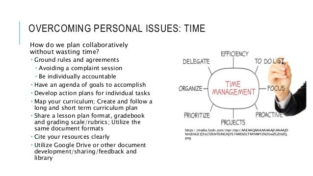 OVERCOMING PERSONAL ISSUES: TIME How do we plan collaboratively without wasting time?  Ground rules and agreements  Avoi...