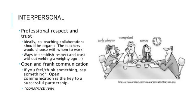 INTERPERSONAL  Professional respect and trust  Ideally, co-teaching collaborations should be organic. The teachers would...