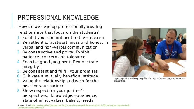 PROFESSIONAL KNOWLEDGE How do we develop professionally trusting relationships that focus on the students? 1. Exhibit your...