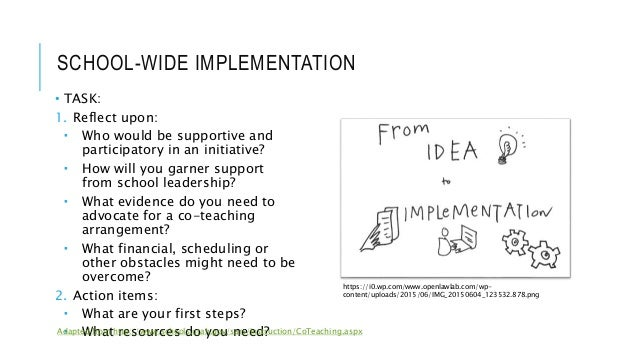 SCHOOL-WIDE IMPLEMENTATION • TASK: 1. Reflect upon:  Who would be supportive and participatory in an initiative?  How wi...