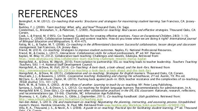 REFERENCESBeninghof, A. M. (2012). Co-teaching that works: Structures and strategies for maximizing student learning. San ...