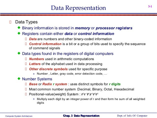 Data Representation  3-1  Data Types  Binary information is stored in memory or processor registers  Registers contain e...