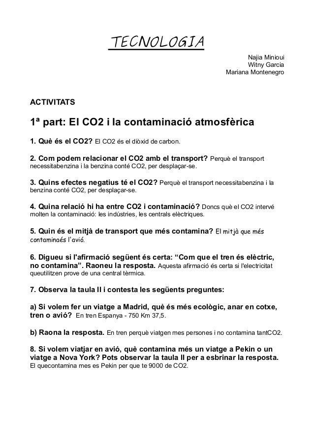 TECNOLOGIA Najia Minioui Witny Garcia Mariana Montenegro ACTIVITATS 1ª part: El CO2 i la contaminació atmosfèrica 1. Què é...