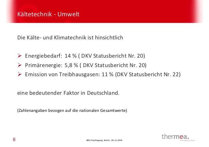 Kältetechnik - Umwelt    Die Kälte- und Klimatechnik ist hinsichtlich       Energiebedarf: 14 % ( DKV Statusbericht Nr. 20...