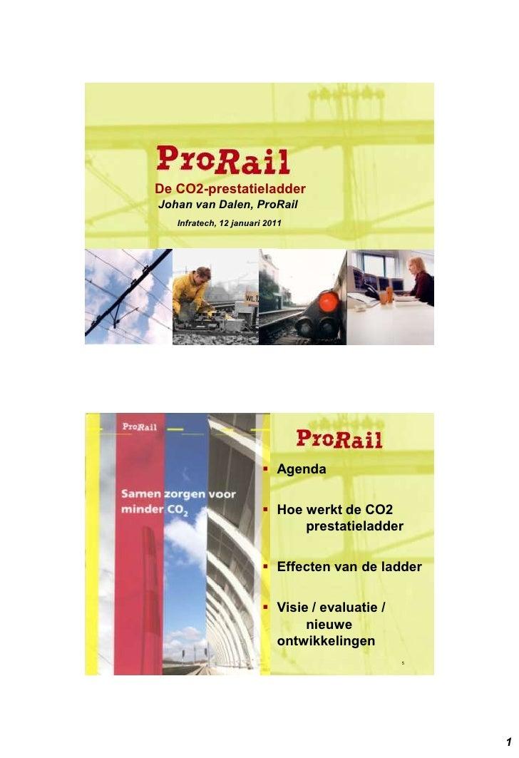 De CO2-prestatieladderJohan van Dalen, ProRail   Infratech, 12 januari 2011                         Agenda               ...