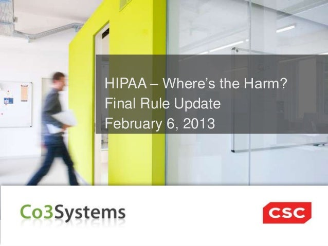 HIPAA – Where's the Harm? Final Rule Update