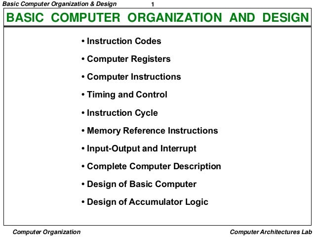 Basic Computer Organization & Design  1  BASIC COMPUTER ORGANIZATION AND DESIGN • Instruction Codes • Computer Registers •...