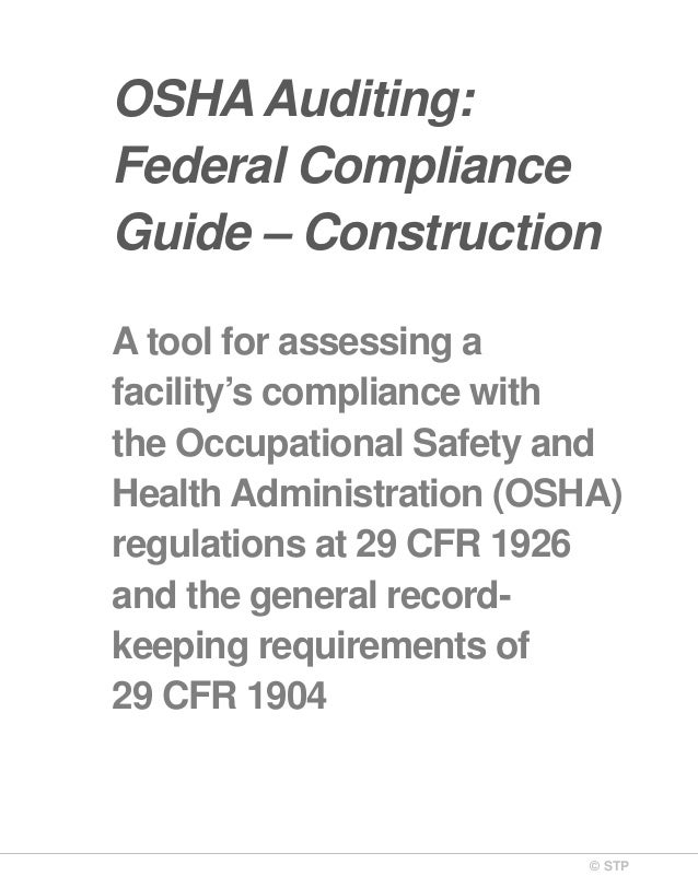 Osha Auditing Federal Compliance Construction The Complete Health