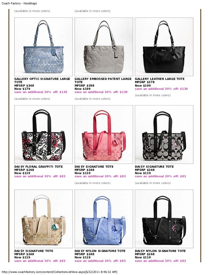 Coach Factory Outlet Bags Summer June 2011 Big Sale Price List for Re…