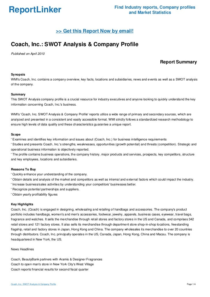 pest analysis for coach inc Ebscohost serves thousands of libraries with premium essays, articles and other content including guess, inc swot analysis get access to over 12 million other articles.