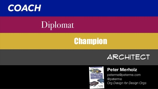 Architect Champion Diplomat Peter Merholz COACH peterme@peterme.com @peterme Org Design for Design Orgs