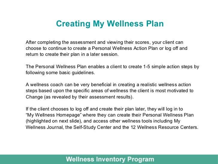 personal wellness planning assessment