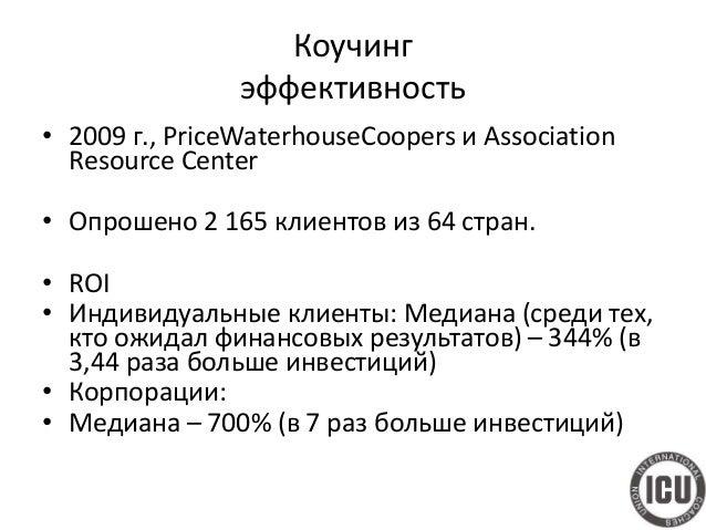 Коучинг эффективность • 2009 г., PriceWaterhouseCoopers и Association Resource Center • Опрошено 2 165 клиентов из 64 стра...