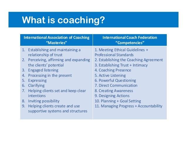 "What is coaching? International Association of Coaching ""Masteries"" International Coach Federation ""Competencies"" 1. Estab..."
