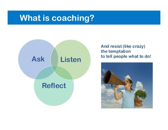 What is coaching? Ask Reflect Listen And resist (like crazy) the temptation to tell people what to do!