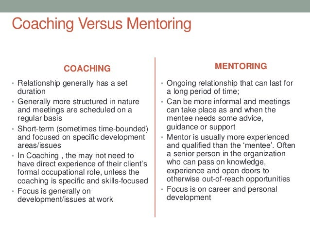 coaching versus mentoring C oaching and mentoring use the same skills and approach but coaching is short term task-based and mentoring is a longer term relationship the cipd differentiates between coaching, mentoring and counselling.