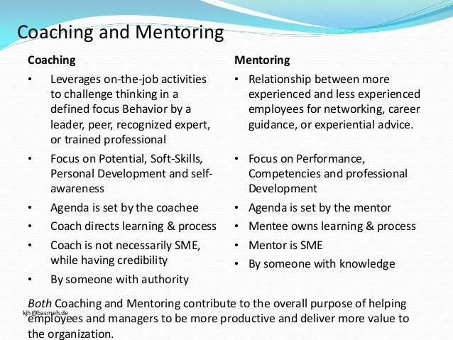 "coaching and mentoring Sometimes people use the words ""mentoring"" and ""coaching"" interchangeably,  but they do not describe the same type of working relationship."