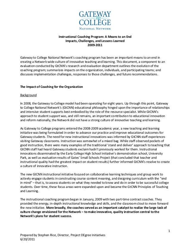 Instructional Coaching Program: A Means to an End                                Impacts, Challenges, and Lessons Learned ...