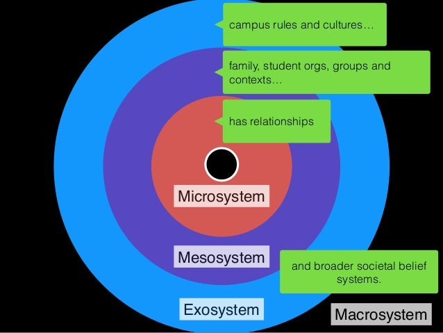Microsystem Mesosystem Exosystem Macrosystem is in network with others… is immersed in social media site culture… and is s...