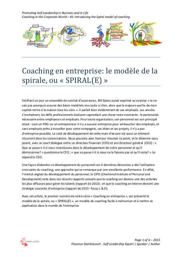 Promoting Self-Leadership in Business and in Life Coaching in the Corporate World – #1: Introducing the Spiral model of co...