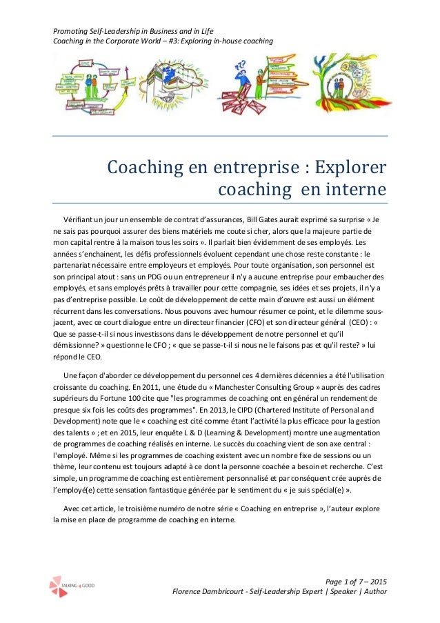 Promoting Self-Leadership in Business and in Life Coaching in the Corporate World – #3: Exploring in-house coaching Page 1...