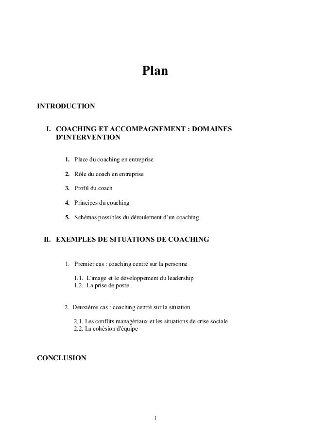 Plan INTRODUCTION I. COACHING ET ACCOMPAGNEMENT : DOMAINES D'INTERVENTION 1. Place du coaching en entreprise 2. Rôle du co...