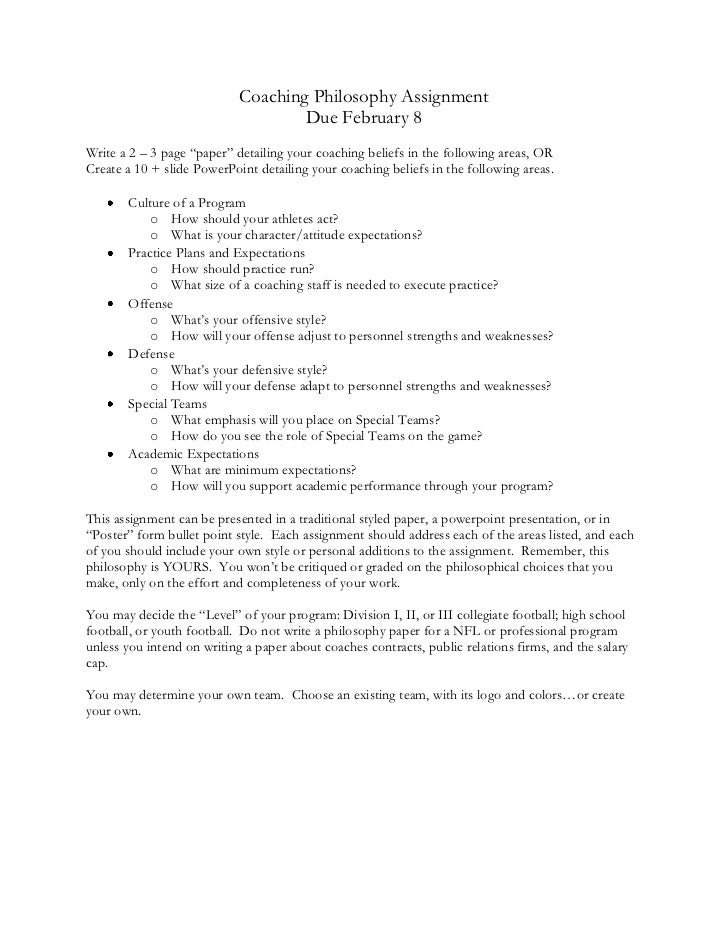 coaching philosophy assignment coaching philosophy assignment due 8write a 2 3