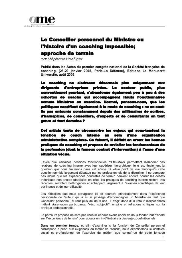 Le Conseiller personnel du Ministre oulhistoire dun coaching impossible;approche de terrainpar Stéphane Haefliger1Publié d...
