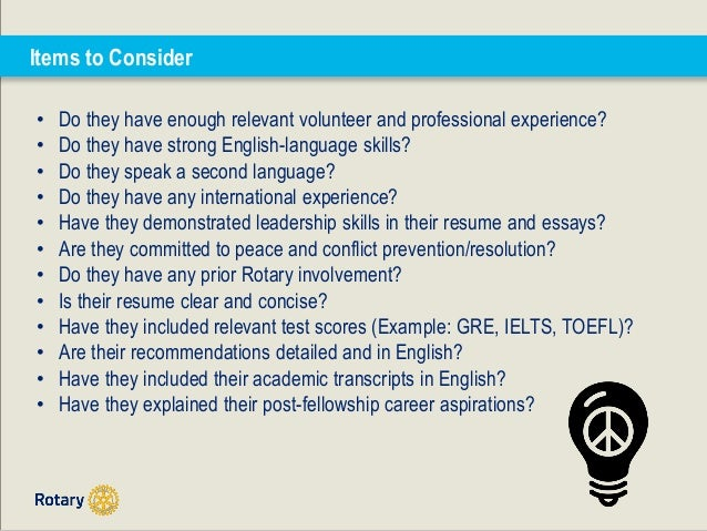 coaching rotary peace fellowship applicants through the