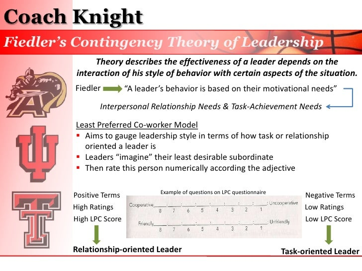 path goal theory and coach knight Both coach k and coach knight use motivational essay about lmx theory theory 5-6 contingency theory 6-7 path goal leadership theory 7.