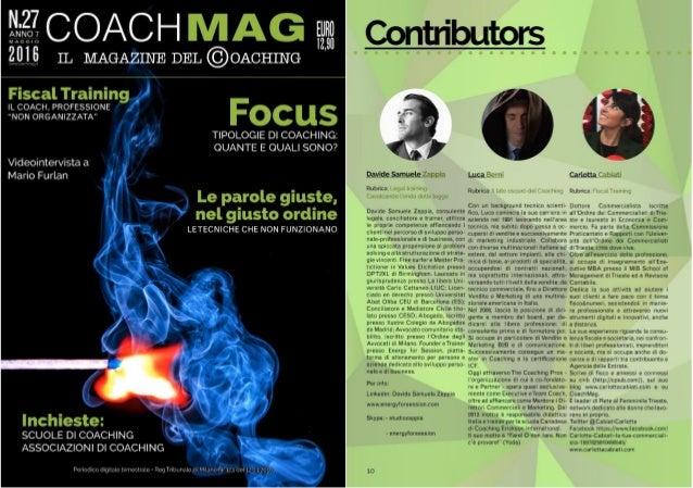 """N. 27 CoachMag - Rubrica Legal Training """"Le potenzialità di sviluppo del coaching: professione o skill?"""""""