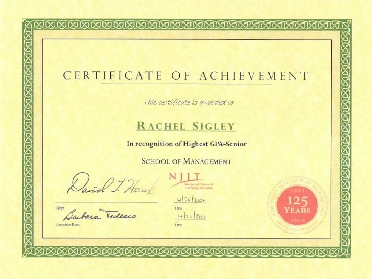 Certificate Of Achievement Highest Gpa Senior