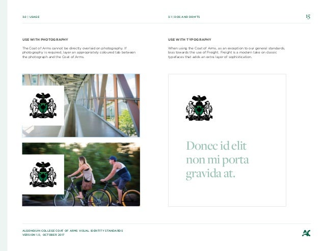 Algonquin College Coat of Arms Visual Identity Standards