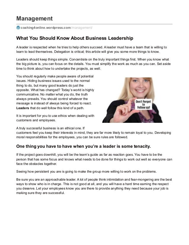 Management coahing4online.wordpress.com /management/ What You Should Know About Business Leadership A leader is respected ...