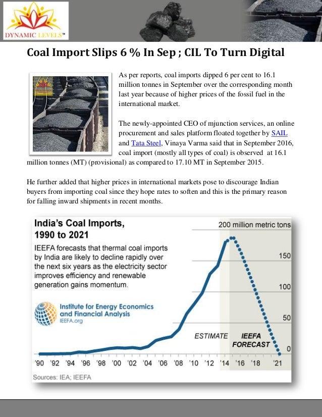 Coal Import Slips 6 % In Sep