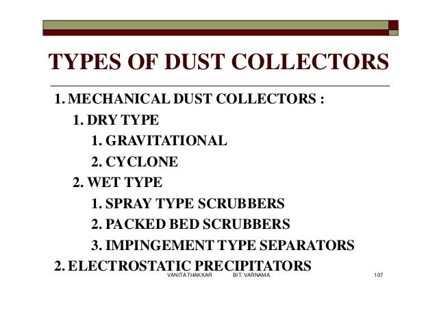 TYPES OF DUST COLLECTORS 1. MECHANICAL DUST COLLECTORS : 1. DRY TYPE 1. GRAVITATIONAL 2. CYCLONE 2. WET TYPE 1. SPRAY TYPE...