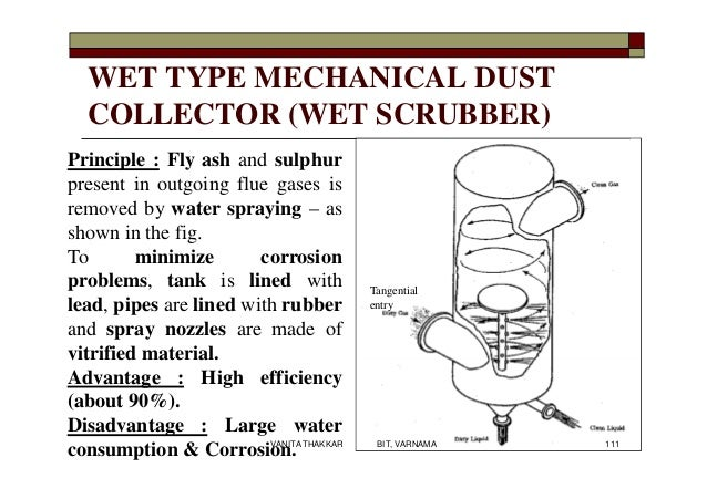 WET TYPE MECHANICAL DUST COLLECTOR (WET SCRUBBER) Principle : Fly ash and sulphur present in outgoing flue gases is remove...
