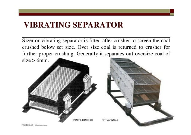 VIBRATING SEPARATOR Sizer or vibrating separator is fitted after crusher to screen the coal crushed below set size. Over s...