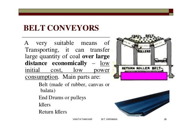 BELT CONVEYORS A very suitable means of Transporting, it can transfer large quantity of coal over large distance economica...